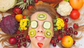 Female face with lot of fruit and vegetables